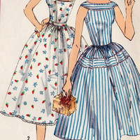 1950s Summer Dress Vintage Sewing Pattern, Summer Fashion, Sun Dress, Rockabilly, Full Skirt, Simplicity 2124 bust 34&quot; uncut