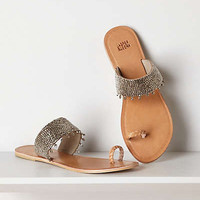 Anthropologie - Banded Mercury Toeloop Slides