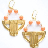 Coat of Arms Earrings in Coral-Handmade - Jewelry