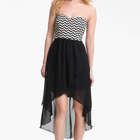 Trixxi Zigzag Print High/Low Dress (Juniors) | Nordstrom