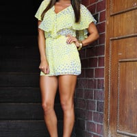 Lost In Cyberspace Romper: Yellow/Grey | Hope&#x27;s