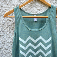 White Chevron on Light Green