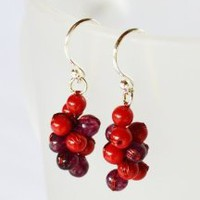 Amazon.com: Red Jasper and Garnet Gem Stone Silver Earring Red Grape Handmade By Flower Gemstone: Arts, Crafts & Sewing