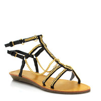 draped-chain-gladiator-sandals BLACK IVORY - GoJane.com