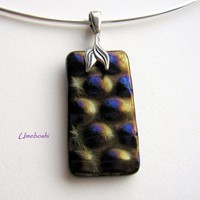 Radium Glass Bronze Color Pendant with Sterling Silver Leaf Pinch Bail