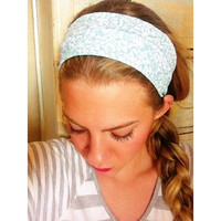 Turquoise & White Floral - Fabric Headband