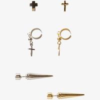 Spike & Cross Charm Stud Set