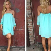 Mint Off the Shoulder Long Sleeve Dress