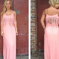 Coral Maxi Dress with Eyelet Lace and Cutout Back Detail