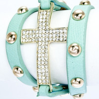 Crystal Cross Leather Studded Bracelet