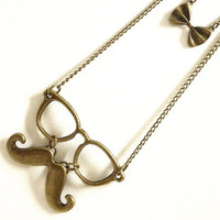 BOW Mustache Geekly on Double Chain Necklace