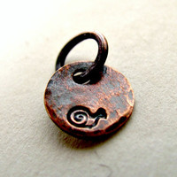 Tiny Snail Copper Charm Oxidized