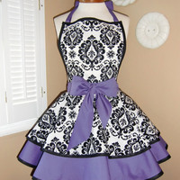 Damask Print Accented with Purple Womans Retro Apron With Tiered Skirt And Bib...Plus Size Available