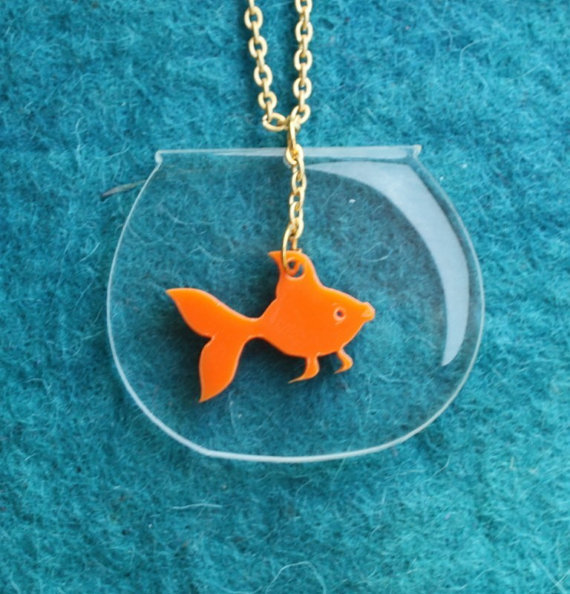 Goldfish NecklacePlexiglassJewelryLasercut AcrylicGifts by bugga