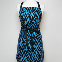 Zebra Apron Blue and Black, Reversible Women's Apron