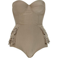 Gold laser cut frill peplum swimsuit