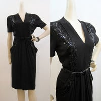 40s Dress Vintage Sequined Beaded Crepe Cocktail  M