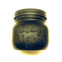 STAY LIFTED Black on Black, Matte Black Weed Jar