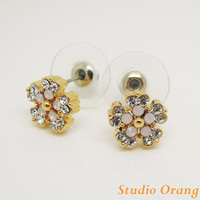 FASHION  jewelry 1PAIR Bling Swaroviski Crystal Opal Flower Alloy Ear Stud Earring, Best Friend Gift