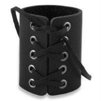 Laced Black Leather Gothic Rock Star Cuff Bracelet