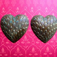 Brass stamping findings feather hearts findings supplies brass stampings
