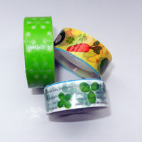 Green Flower, Clover and Vegetable Washi and Kawaii Tape, 3 Rolls