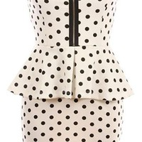 Peppered Peplum Dress | White Printed Dresses | Rickety Rack