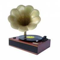 Pyle Home PNGTT1R Classic Horn Phonograph/Turntable with USB-To-PC Connection and Aux-In (Mahogany)