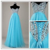 Stunning A-line Sweetheart Sweep Train Prom Dress-blue from Dresses 2013