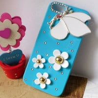 white flowers angel 3D phone case light blue case for iphone 5 iphone 4 case