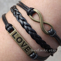 Infinity LOVE Lovers Bracelet -- Unisex fashion silver 8 infinity wish and LOVE bracelet,black wax rope and leather braided leather bracelet