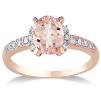 Miadora Sterling Silver Morganite and Diamond Ring | Overstock.com