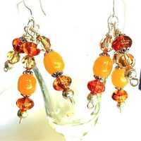 Glowing Amber Earrings, Topaz Swarovsky Crystals, Sterling Silver Wire