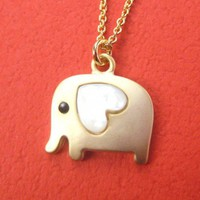Small Elephant Animal Necklace in Gold with Heart- ALLERGY FREE