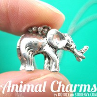 SALE 3D Elephant Animal Charm Necklace in Silver