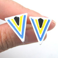 Aztec Arrow Shaped Geometric Arrowhead Stud Earrings in White from Dotoly Plus