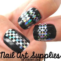 nailartsupplies | Checkered Diamond Nail Art DIY Decal Stickers in Shiny Silver | Online Store Powered by Storenvy