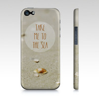 Sea Quote iPhone Case OR Samsung Galaxy 3 Case, Custom Quote, Seashell, Beach, Sea, Ocean, Brown Cover for iPhone 4/4S/5 OR Samsung Galaxy 3