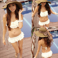 Korea Women Bikini Two Pieces Elegant Flounce Swimwear Swimsuit Bathing Suit