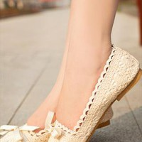 Crochet lace Flat  shoes Ivory from guipure