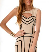 Beige Body-con Cutout Dress with Black Curve Front Detail