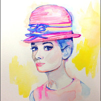 ORIGINAL Audrey Hepburn Watercolor Painting - Fashion Watercolor Fashion Illustration Vintage Fashion Art Spring Colors