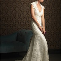 Deep V-neck Lace Applique Over Net With Stain Small Train Wedding Dress WD1650