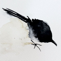 Watercolor Black Crow / Bird. Painting . Bird series / Desing painting.