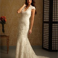 Lace Applique Over Net With Stain Deep V-neck Small Train Wedding Dress WD1663