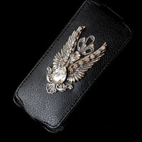 iPhone 5 Gothic Flip Case - Swarovski Crystals iPhone Case - Silver Angel Wings iPhone Cover - iPhone Accessories