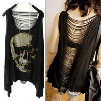 New Vintage Open Back SKULL PUNK Shirt