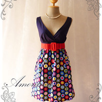 Be on Spot - Popping Chic Retro Cotton Summer Dress Party Colorful or Everyday Dress-S-M-