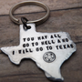 Texas-keychain-ornament-handstamped-personalized-you may all go to hell and I will go to Texas