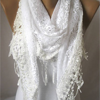 Triangular White Lace Scarf with Trim Edge-White Shawl